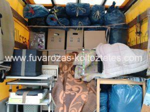 Bécsi költöztetés, a raktér tele ingóságokkal.